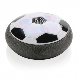 Air power soccer with colourful LED. Foam bumper protection keeps it from damaging walls and furniture. Great for any indoor or outdoor smooth surface like wood, carpet or concrete. Including 4 AA batteries.