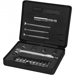 This 20-piece tool box in small case includes three screwdrivers, 10 bits in holder with: three Philips sizes (PH0, PH1, PH2), three slotted sizes (4, 5, 6mm), three Torx sizes (T10, T15,T20) and 1 adapter, four sockets (7mm, 8mm, 9mm, 10mm), one cutter, one handle and one connector. Packed in a STAC gift box.