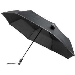 """Luminous 27"""" LED fold. auto. open/close umbrella. Automatic open and close umbrella with bright revolving LED light integrated in comfortable rubberized handle. Sturdy black metal hexagonal shaft with fiberglass ribs. The pongee polyester canopy carries reflective fabric for improved visibility during the darker times of a rainy day.3 batteries included."""