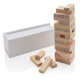 Hoe hoog kun jij gaan? Zie hoe hoog je de houten blokken kunt stapelen voordat ze omvallen met dit leuke vallende torenspel. De 48 blokken zijn gemakkelijk op te bergen in de meegeleverde schuifdoos. Komt in full colour doos.