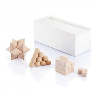 Spellenset inclusief 3 denkpuzzels in witte houten doos. Verpakt in luxe geschenkdoos.