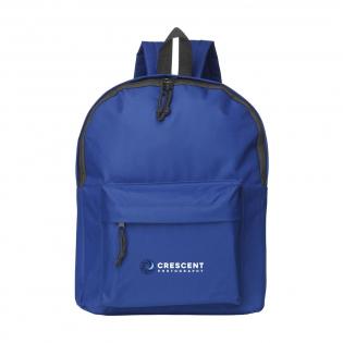 Sac à dos en polyester 600D avec grande poche principale, poche avant, bretelles ouatinées réglables et intérieur déperlant. Capacité environ 12 litres.