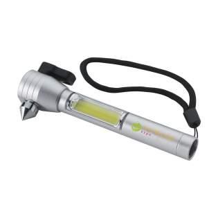4-in-1 aluminium autotool met: veiligheidshamer, gordelsnijder, magneet en zaklamp met COB-licht. Een noodgereedschap dat in elke auto binnen handbereik zou moeten zijn. Inclusief afneembare polslus en batterijen.