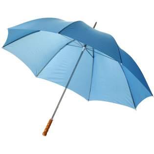 """Parapluie 30"""" avec mât et baleines en métal et poignée en bois."""
