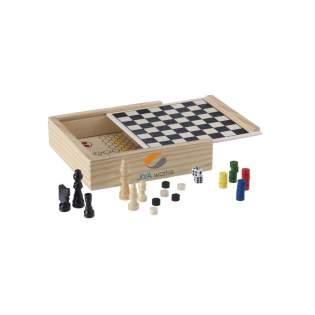 5 klassische Spiele in einer Holzkiste, inkl. Spielregeln. Pro Stück in einem Schutzkarton.