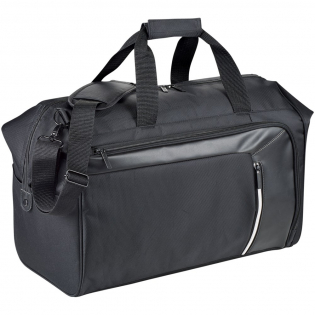 Travel duffel bag featuring a hidden RFID technology blocking front pocket to protect your cards and passport from identity theft, a front zipped organiser, and a large main zipped compartment. Detachable, padded shoulder strap for improve comfort and fit. Trolley sleeve on back to make travelling easier.