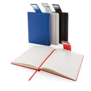 Ruled A5 hardcover standard notebook with LED light bookmark. 160 pages of 70g/m2 inside. Cream coloured pages.
