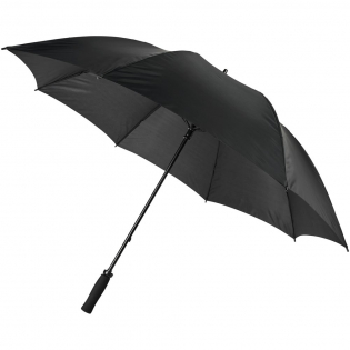 Manually opening umbrella with a polyester canopy. It has a sturdy metal shaft and a high quality full fiberglass frame, offering maximum flexibility in windy conditions. Curved EVA handle, plastic tips and top. Available in a wide variety of contemporary colours and has a large decoration area on each of the panels.