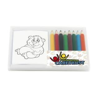 8 crayons de couleur laqués et livret à colorier avec 12 mini images (6x2 images identiques). Rangés dans une boîte pratique.