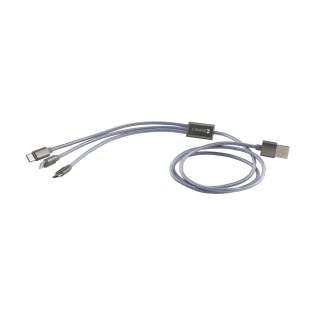 3-in-1 braided USB oplaadkabel (iOS, micro-USB en Type C) voor zowel Apple iOS als Android apparaten. De gevlochten nylon kabel met trendy uitstraling is comfortabel, licht in gewicht, raakt niet in de knoop en zorgt voor extra bescherming.