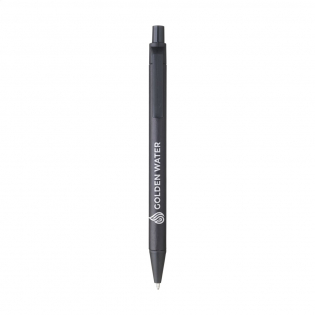 Eco-friendly ballpoint pen with a barrel made of recycled paper. The clip, push button and point are made of biodegradable PLA. With blue ink.