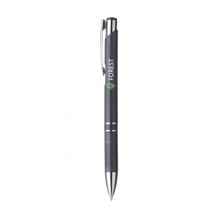 Umweltfreundlicher, blauschreibender Kugelschreiber mit Griff aus 50 % ABS und 50 % Weizenstroh, Metallclip und Chromakzenten aus Kunststoff.