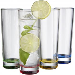 Helder gekleurde 4 delige glazenset. Geschikt voor koude dranken. Inhoud per glas is 270ml. Vaatwasbestending. Geleverd in een Avenue geschenkverpakking.