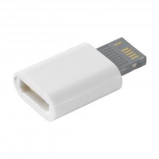 Connecteur enfichable de Micro-USB vers iOS. Idéal comme extension pour les câbles Micro-USB standard.