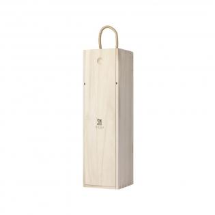 Weinkiste aus Paulowniaholz. Mit Schiebedeckel und Kordel.  Geeignet für 1 Flasche Wein (0,75 l). Die Weinkiste wird ohne Wein geliefert. Wird einzeln in einem Kraftkarton geliefert.