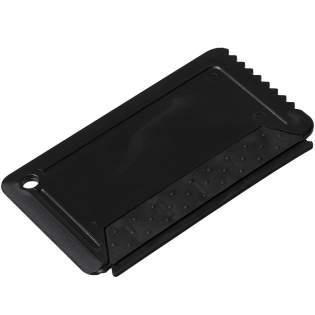 Handlicher Eiskratzer mit integriertem Gummistreifen, kompakt und leicht zu verstauen.