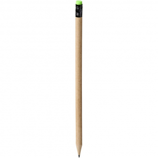 Pencil with a barrel made of recycled paper, and a green eraser on top. Recycled paper colour may vary. Unsharpened.