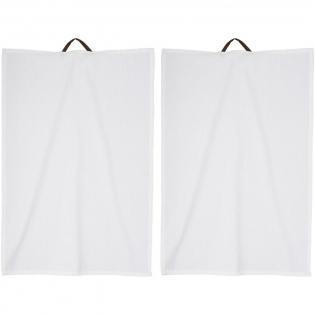 2 serviettes de cuisine avec attache en simili cuir. Taille: 40 x 60. Présenté dans une pochette cadeau Seasons.
