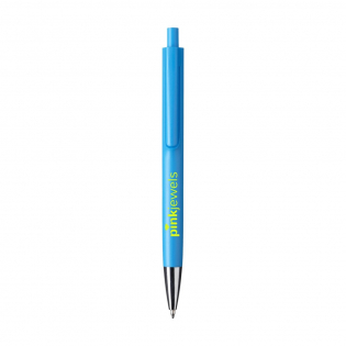 Blue ink ballpoint pen with a silver point, push button, designed with the body and clip of the pen as one piece.