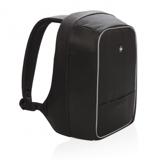 """Anti pickpocket 15.6"""" laptop backpack made out of 1680D and 600D polyester with cut-proof material, hidden zipper closures and secret pockets that will keep all your belongings safe while commuting. Connect your powerbank easily to the integrated USB charging port and charge your phone or tablet on the go. Night safety due to reflective safety strips. With trolley strap. PVC free. Registered design®"""