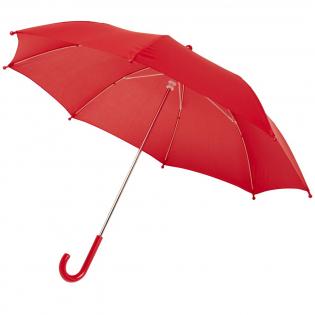 Parapluie sûr et facile à utiliser, disponible dans une grande variété de couleurs fraîches, avec une grande surface de marquage. Le parapluie s'ouvre et se ferme facilement grâce à la glissière de sécurité sans ressort. Il est robuste avec un manche en acier chromé, des baleines et des rayons en fibre de verre. Les grandes pointes arrondies et le dessus sont ronds, pour une sécurité maximale en cas de pluie et de vent.
