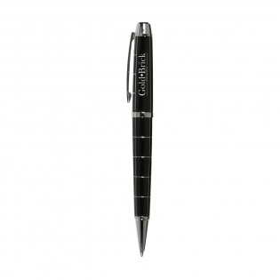Ballpoint with turn click system, with shiny metal trim and large blue ink fill. In a case.