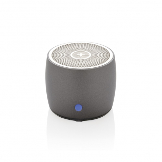 Compact 3W speaker with surprisingly clear and full range sound. The bottom section of the speaker has an extra driver to enhance bass performance. Made out of high quality stainless steel for a great look and feel. With 500 mAh battery that allows up to 5 hours playing of your favourite music. Operating distance up to 10 metres.
