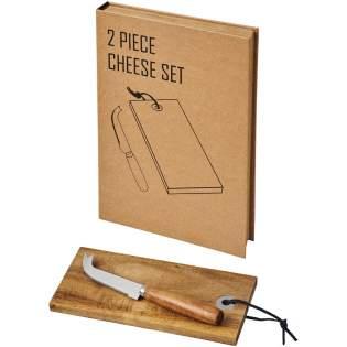Dieses Set enthält eine hölzerne Käseplatte und ein Messer.