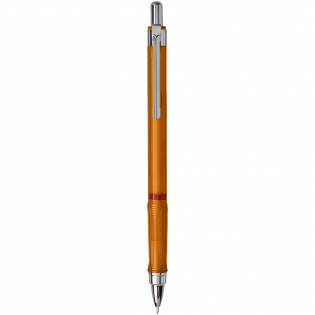 Click action mechanical pencil for dynamic writing and sketching. Features a metal mechanism with retractable lead feed. Triangular grip for relaxed feel. Retractable tip and loaded with High-Polymer 2B leads. Nib size: 0.5mm.