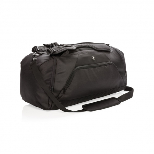 Lightweight 1680D and 600D polyester 2-in-1 bag. Works as both a backpack & duffle. Includes a roomy main compartment with a U-shaped top zipper closure, a side entry shoe or dirty clothes compartment and a side zippered pocket. The back with a bottle holder pocket and quick access pocket. Front zippered pocket with 2 RFID protected sleeves. Adjustable shoulder straps for carrying comfort and versatility. PVC Free.