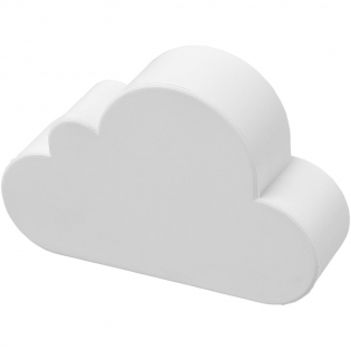 Cloud-shaped stress reliever with PU foam. Stress relievers vary slightly in density, color, size, and weight due to mold process which may prevent precise and uniform imprint. Imprint may break up.