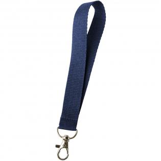 Mini-Lanyard, das einen Metallhaken für das Aufnehmen eines Namensschilds, eines Ausweises oder von Schlüsseln enthält.