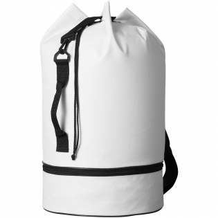 Duffel bag with drawstring closure, side handle and adjustable shoulder strap. With separate zipper bottom compartment.
