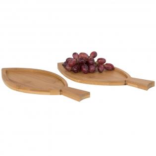 Diese zwei fischförmigen Bambus Amuse-Bouche Teller eignen sich perfekt zum Servieren von Fingerfood. Präsentiert in einer Avenue Geschenkschachtel.