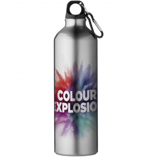 Experience the vibrant colours and detailed printing of the 360 digital print decoration method. Pre-printed with logo: Colour explosion. Single-wall aluminium bottle, volume capacity 770ml, twist-on lid, carabiner is not suitable for climbing.