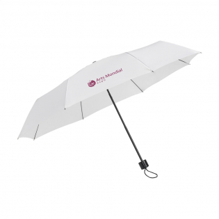 Compact, collapsible umbrella with 190T polyester canopy. Metal frame and shaft, plastic grip with loop, velcro fastening and storage bag. Manual operation.