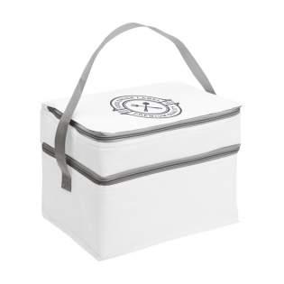 Kühltasche aus 600D-Polyester mit großem Kühlfach, extra Kühlfach mit Gazefach und Trageriemen.