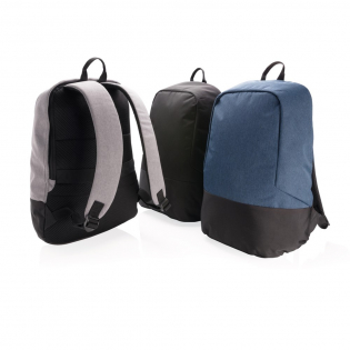 """Go to school or off to work carrying all your daily essentials safely protected in this anti-theft backpack. Includes 15"""" padded laptop pocket. This lightweight and durable backpack features compact and minimalist construction. Incorporating RFID protected sleeve pockets. Made out of 600D two tone polyester & PVC free."""