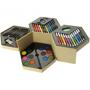 12 marker pens, 12 colouring pencils, 12 wax crayons, 12 watercolour paint, paint brush, sharpener, eraser and large paper clip. Decoration not available on components.