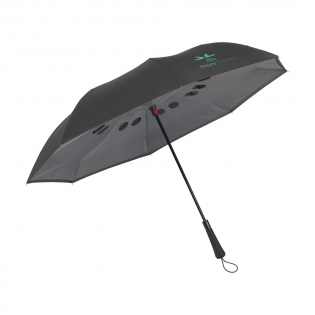 Large, innovative reverse umbrella with double 190T pongee slings. Special material that accelerates drying. Can dry standing up. Closes automatically, opens manually. Ideal when getting in and out of the car. Metal frame with windproof system and ergonomically shaped handle with carrying strap.