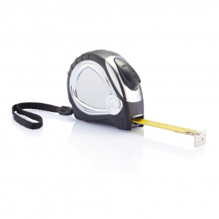 5m/19mm Maßband mit verchromtem Kunststoffgehäuse, Gummierung und mattem gelben Band.