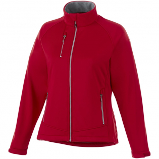 3000 mm Waterproof and 3000 g/m² Breathable. Interior media pocket. Hand pockets with zippers. Chest pocket with zipper closure. Shaped seams and tapered waist for flattering fit. Reflective details. Centre front exposed plastic zipper. Bi-coloured necktape. Heat transfer main label for tagless comfort.