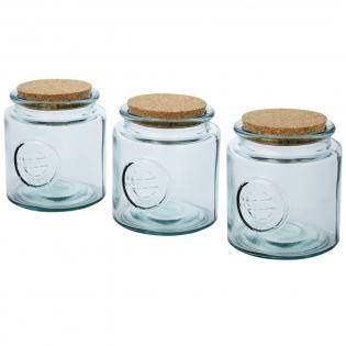 3-teiliges Set aus recyceltem Glas mit drei Gläsern mit Korkdeckel, jeweils 800 ml. Hergestellt aus 3 Glasflaschen. Recyceltes Glas wird mit weniger Energie, Rohstoffen und Additiven hergestellt als für die Herstellung von herkömmlichem Glas erforderlich. Glasgröße: Höhe 13 cm, Durchmesser 12 cm.