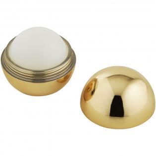 Lippenbalsem met vanillesmaak in een rond metallic potje met draai deksel. Neutrale kleur lippenbalsem. 1 kleur bedrukking in zwart alleen mogelijk.