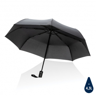 No greenwashing, but telling a true story about sustainability! This Impact umbrella is made with 190T RPET pongee with AWARE™ tracer. With AWARE™, the use of genuine recycled fabric materials and water reduction impact claims are guaranteed, by using the AWARE disruptive physical tracer and blockchain technology. Save water and use genuine recycled fabrics. With the focus on water 2% of proceeds of each Impact product sold will be donated to Water.org. This automatic umbrella opens and closes with the touch of a button to keep you dry in any weather. Metal frame, fibreglass ribs with ABS handle. Stormproof. This umbrella canopy has saved 4,3 litres of water and is made of 7,3 PET bottles (500ml). Water savings are based on figures when compared to conventional fibre. This calculated indication is based on reliable LCA data as published by Textile Exchange in their Material Snapshots 2016.