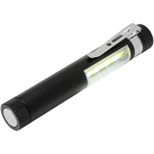 A handy aluminium COB torch with a magnet base and pocket clip. Works on 5x LR44 batteries and produces 42 lumen. Large logo decoration area available both for pad print and laser engraving.