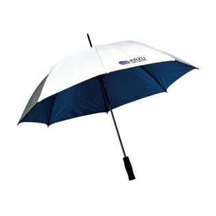 Parapluie anti-vent avec toile en poluester 190T, cadre en fibre de verre léger, manche en métal, poignée douce et fermeture par bande auto-agrippante. Protège également du soleil et de la chaleur.