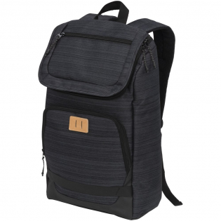 """A laptop backpack designed for everyday use. Featuring a 15"""" laptop sleeve in the main compartment, an easy access zippered pocket on the front flap and a front zippered pocket with organizational pocket. This backpack includes upgrades like high quality printed material, printed interior lining, vinyl lash tab and interchangeable zipper pullers. Added features like a mesh water bottle pocket and silicon grab handle on the bottom make this bag a must have."""