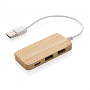 Bamboo USB 2.0hub with 2 USB A ports and one type C port to extend the USB ports on your computer. With integrated PVC free TPE cable.