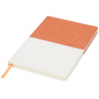 Two-tone A5 canvas notebook. A5 notebook with coloured canvas top and matching ribbon. Includes 80 sheets (70g/m2) lined paper. PVC Plastic, Canvas.